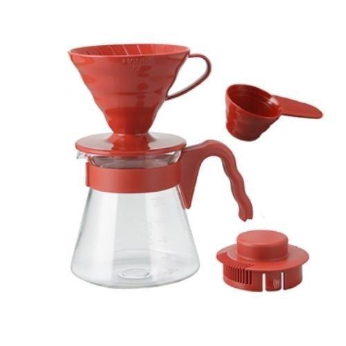 Hario V60-02 Coffee Server Set czerwony