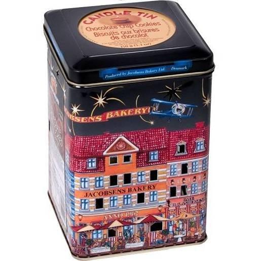 Jacobsens Candle Tins duńskie ciastka czarna puszka lampion 150g
